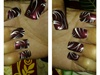 line nail art on burgandy nails