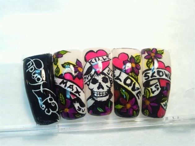 Ed Hardy Style Nail Art Gallery