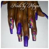 purple galaxy nails
