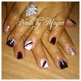 burgandy and rose gold nails