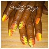yellow and orange nails