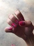Pink And Silver Nail