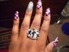 Pink Plaid Bling Nails