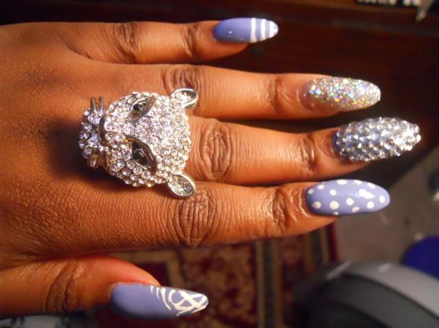 Lavender Bling Nails