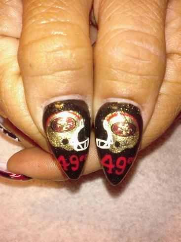 49ers Superbowl Nails - Nail Art Gallery