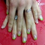 Green tips with sparkles