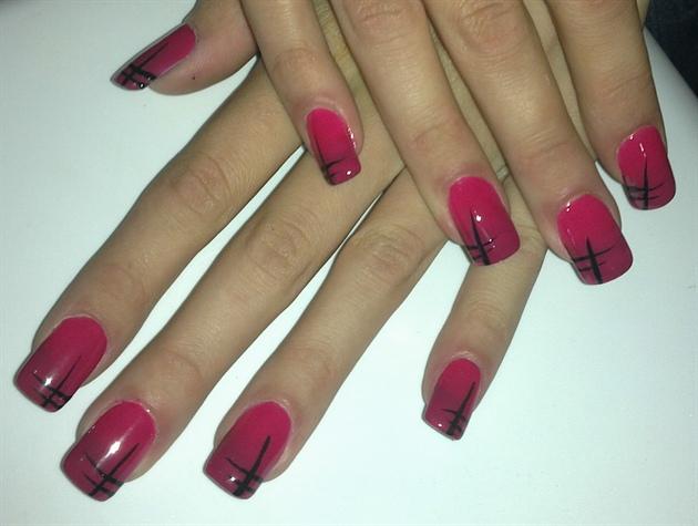 Hot pink black nail art gallery hot pink amp black prinsesfo Images