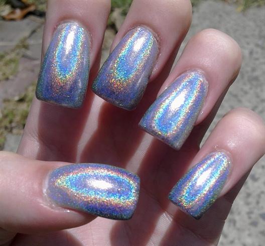 Glitter Gal silver holo polish