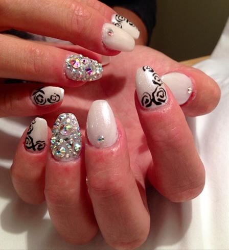White Bling Nails