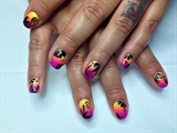 Colorful Gradient with black flowers