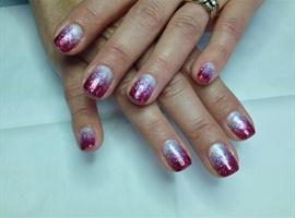 nail art: red glitter