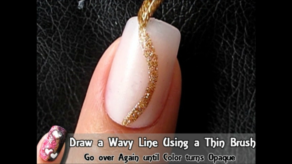 Valentines nail art design nail art gallery step by step draw a wavy line using a thin brush prinsesfo Gallery