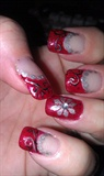 Red Glitter/swirl flower