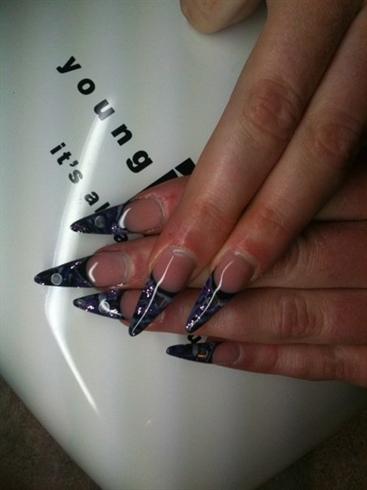 Purple and black gel stillettos