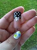 Polka dot and bow nails