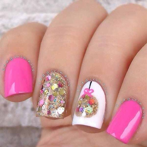Pink Holiday Nail Art
