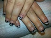 French Manicure with black ribbons