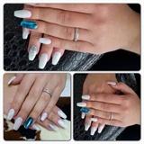 White gel polish, light blue foil