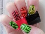 Bright Aztec/Tribal nail design