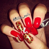 Red w/  Gold Animal Print