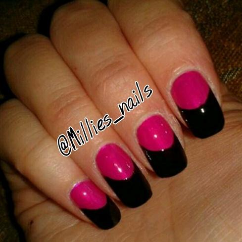 Pink w/ Black tips.