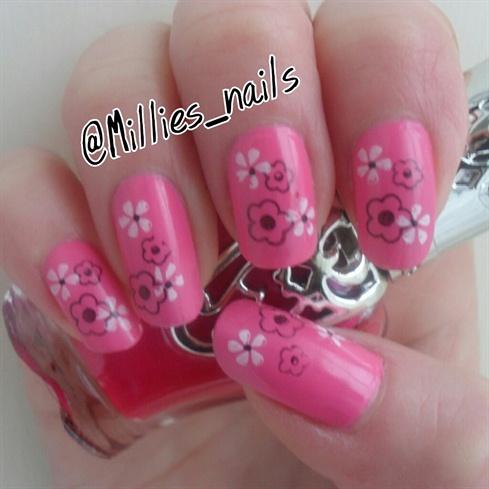 Baby pink w/ Konad Flowers