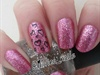 Pink Glitter W/ Heart Accent Nail