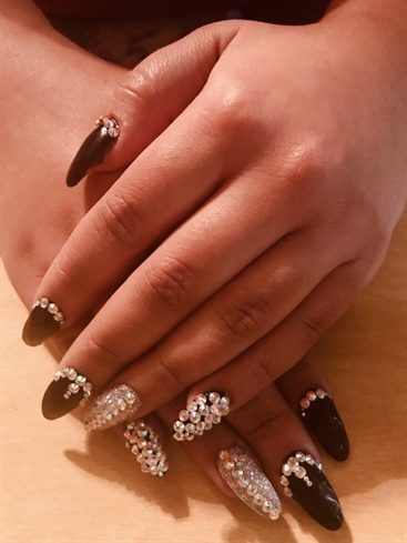 Black Rhinestone Nails