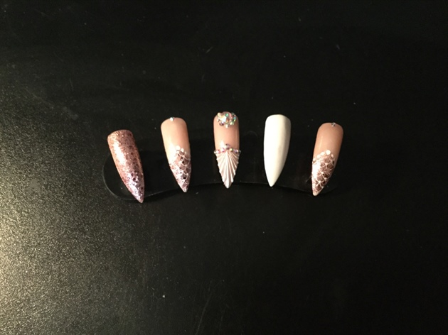 Pink And White Glitter Holigraphic Stone