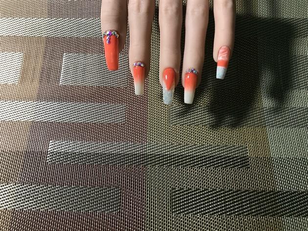 Peach & White