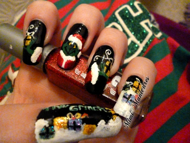 christmas grinch present nails