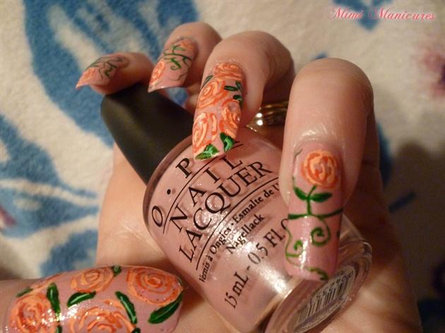 roses opi pink nails