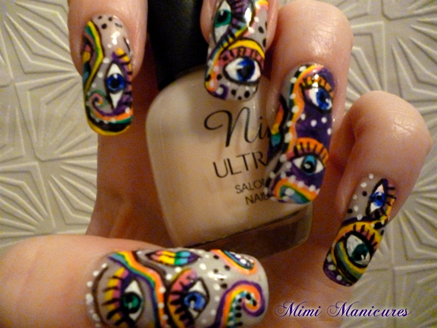 funky rainbow eye design - Nail Art Gallery