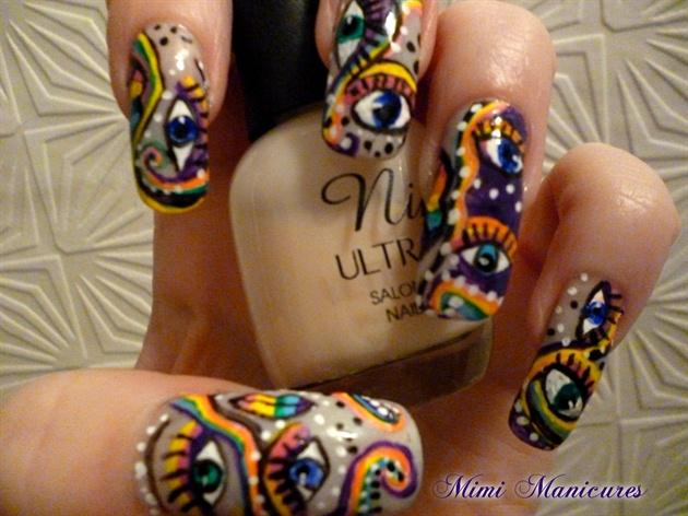 Funky Rainbow Eye Design Nail Art Gallery
