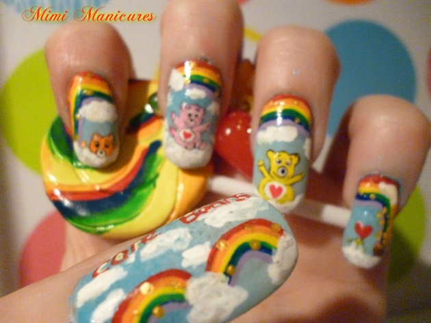 childrens care bear rainbow nails - Nail Art Gallery