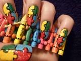 autism jigsaw nail art
