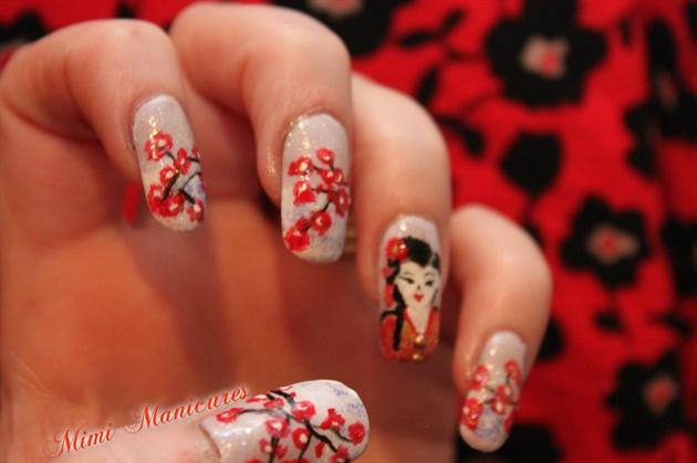 geisha girl flower nail art