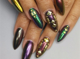 Chrome Mardi Gras Nails