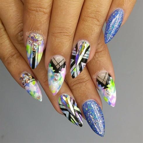 Tribal Watercolor Nails