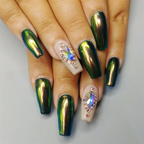 Chrome and Swarovski nails