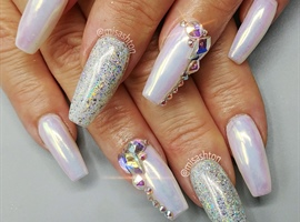 Chrome and crystal nails