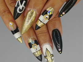 Football Nails NOLA Saints