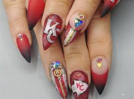 Football Nails KC Chiefs
