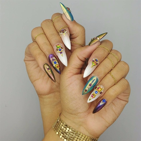Embellished chrome and Swarovski nails