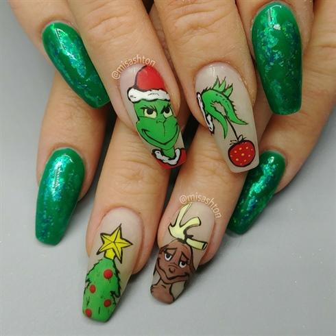 the grinch and max christmas nails  nail art gallery