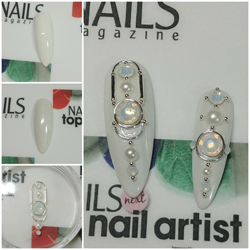 Embassy Ball Nails: > Paint the nails with white gel paint and a chrome base coat (or just Akzentz White-On). > Coat with Pearlescent Silver. > Top with Shine-On. > Arrange embellishments to your liking, and then apply.