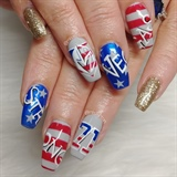 Golden Knights 4th of July Nails