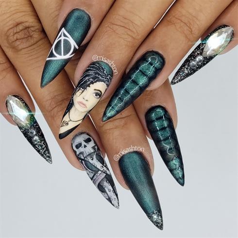 Bellatrix Lastrage, Slytherin, Harry Potter Nails