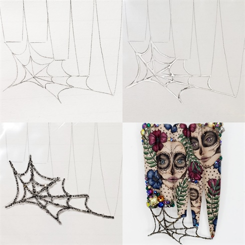 Trace the shape of the nail tips onto a piece of paper. Draw a spider web that connects all of the tips together, and then put the piece of paper into a plastic bag. Paint over the spider web with jewelry gel, and individually place each crystal pixie into the gel until the entire web is covered. Cure and carefully peel the web from the plastic bag. Using jewelry gel again, attach the spider web to the nails. Glue crystals and crystal pixies into place around the border of the design, and add smaller clusters throughout to complete the look.