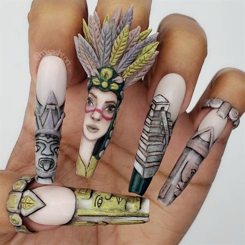 Mayan Nail Art